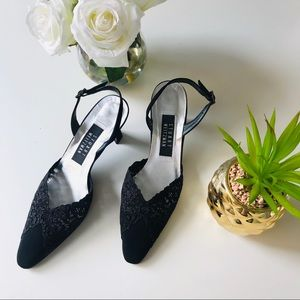 Stuart Weitzman Lace Embroidered Point Toe Heels 8